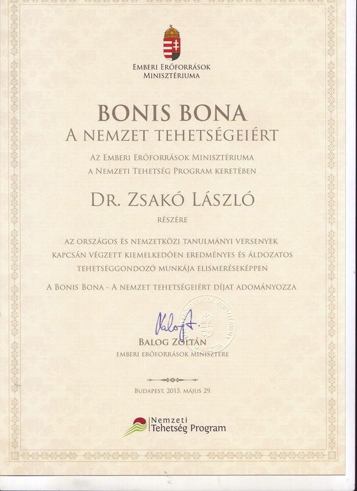 Bonis Bona kitüntetés