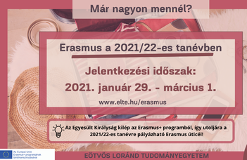 Erasmus pályázatok leadási határideje 2021. március 1.
